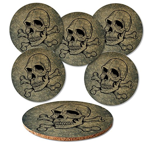 """'ADDIES Verre Set de 6 dessous de pièces """"Tête de Mort présentée dans un coffret cadeau transparente et dos en liège, rond, 6 motifs. Logo 1"""