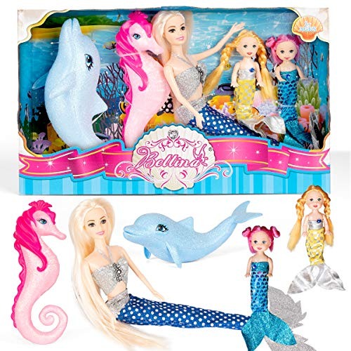 Mermaid Princess Doll Playset with Little Mermaid Doll for Girls, Mermaid Gifts for Girls with Shining Seahorse and Dolphin Bath Toys and Doll Clothes Accessories, Mermaid Toys for Girls Age 3 4 5 6+