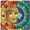 ダイヤモンドペインティングキット 大人用 太陽と月の顔 フルドリル クリスタルラインストーン刺繍クロスステッチ DIY 5Dペイント 大人初心者用 自宅の壁装飾 13.8インチ×13.8インチ