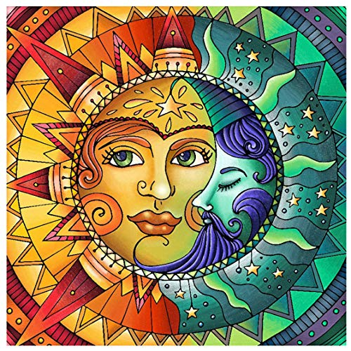 """Diamond Painting Kits for Adults,Sun and Moon Face Full Drill Crystal Rhinestone Embroidery Cross Stitch,DIY 5D Paint by Numbers for Adults Beginner,Home Wall Decor 13.8""""×13.8"""""""