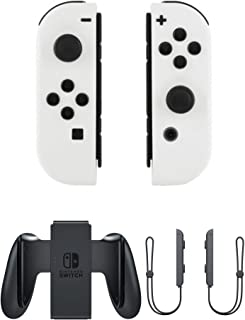 Soft Touch White Joy-Con L/R Custom Controllers for Nintendo Switch with Grip & Wrist Straps