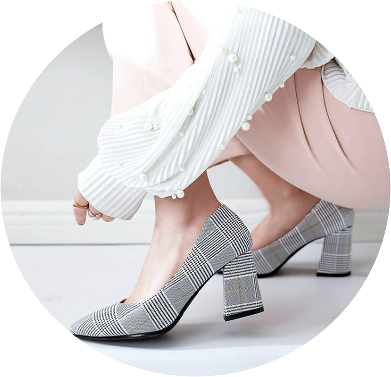 Sianie Tianie Checked Plaid Pointed Toe Office Career Stiletto Dress shoes high Heels shoes 45 46