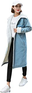 Women's Fashion Loose Winter Thick Sherpa Lined Long Denim Jacket Coat