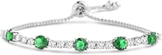 Rhodium Plated Sterling Silver Round Simulated Gemstone and CZ Adjustable Bolo Tennis Bracelet for Women (Various Colors)