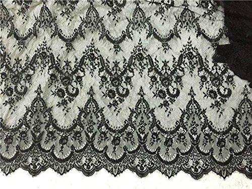 Chantilly Lace Floral Bridal /Wedding Dress Flower Textil Handwerk Scallop Trim Applique Kleidung Vorhang Weiß Elfenbein /Schwarz 300cmx150cm ALE02
