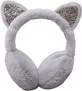 THAWxe Ear Muff, Winter Cute Lady Sequin Cat Ears Fluffy Earmuffs Earflap Earcap Ear Warmer Cover - Grey