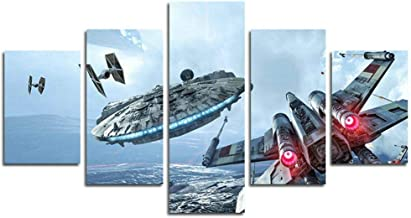 5pcs Millennium Falcon X Wings Canvas Art Star Wars Print Poster Decor Painting on Canvas