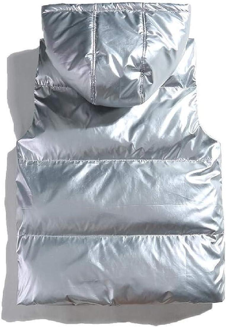 BLTR Men Shiny Metallic Sleeveless Winter Full-Zip Hooded Thick Down Puffer Vest