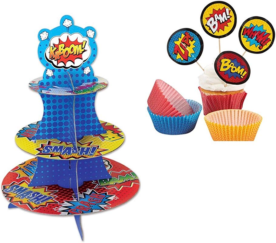 Super Hero Cupcake Dessert Stand And Cupcake Liners With Picks