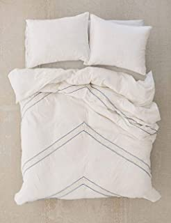 Kotton Culture 100% Egyptian Cotton Duvet Cover Set 3 Piece 600 Thread Count with Zipper Closure & Corner Ties Embroidered Arrow (1 Duvet Cover 2 Pillow Shams) (California King/King, White)