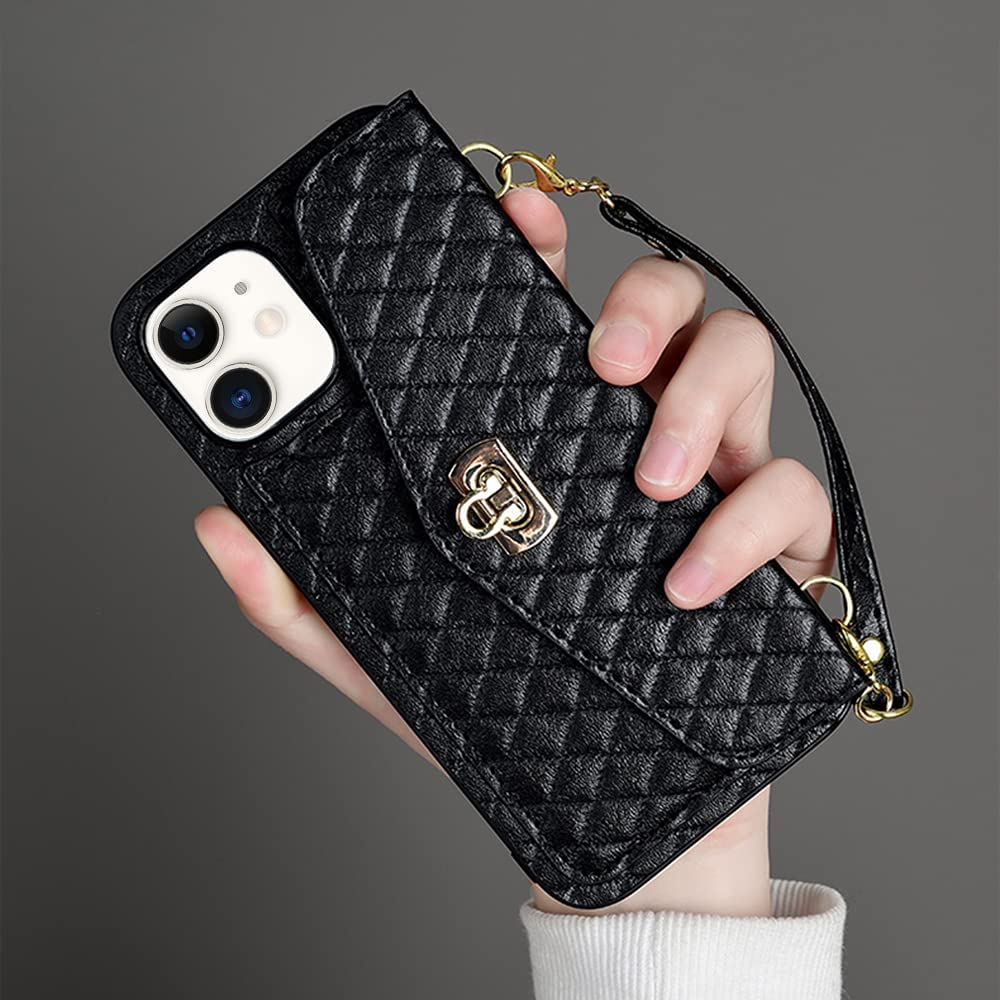 LUVI Wallet Case for iPhone 11 Case for Women Card Holder with Crossbody Neck Strap Lanyard Purse Handbag Shoulder Strap Cover PU Leather Credit ID Card Holder Kickstand Stand Protection Case Black