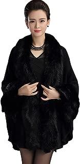 Aphratti Knit Wrap Scarf Shawl Cape Coat with Luxury Faux Fur Collar