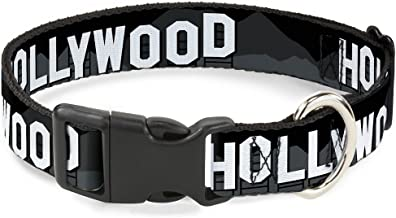 Buckle-Down Plastic Clip Collar - HOLLYWOOD Sign Skyline Black/Grays/White - 1