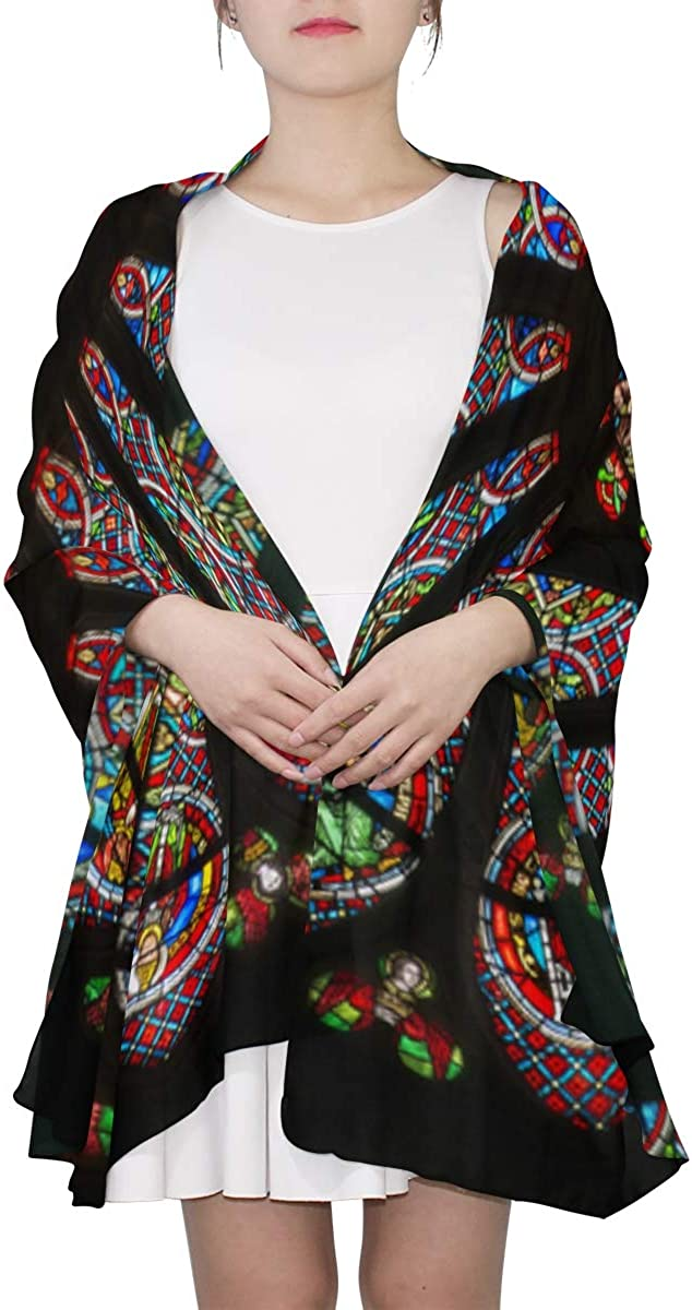 Rosette Stained Glass Window Unique Fashion Scarf For Women Lightweight Fashion Fall Winter Print Scarves Shawl Wraps Gifts For Early Spring