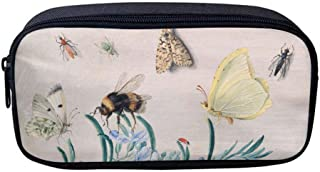 Oxford Cloth Pencil Case, Office Cosmetic Makeup Supply Accessories in Organized for Men, Women, Adult (Bumble Bee Beetles Butterfly)