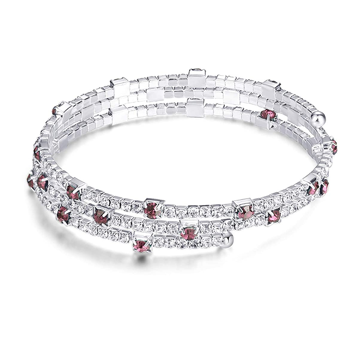 DLNCTD Fashion Layered Crystal Charm Bracelet Bangles Women Silver Color Open Cuff Bangle Wedding Anniversary Jewelry Gift