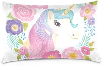 ALAZA Cooper Girl Unicorn Flowers Rose Pillow Case Sofa Bed Throw Pillow Cover Cotton Zipper 20x36 Inch