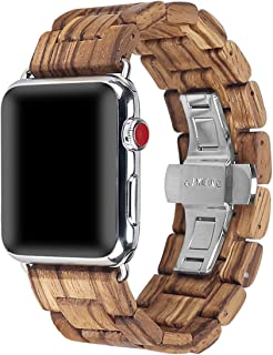 Wooden Watch Band,AIYIBEN Nature Wood Replacement Loop Bracelet Watch Band Strap for Apple i Watch (42MM/44MM Zebra)
