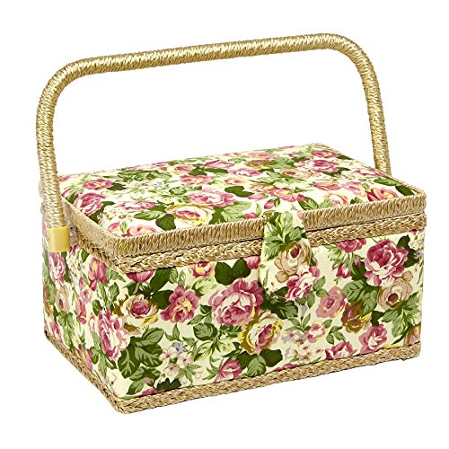 """Sewing Basket with Rose Floral Print Design- Sewing Kit Storage Box with Removable Tray, Built-in Pin Cushion and Interior Pocket - Medium - 11"""" x 7"""" x 5.5"""" - by Adolfo Design"""