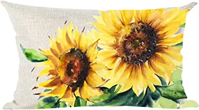 ramirar Hand Painted Ink Oil Painting Watercolor Yellow Sunflowers Green Leaves Decorative Lumbar Throw Pillow Cover Case ...