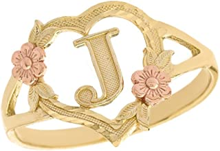 CaliRoseJewelry 10k Gold Initial Alphabet Personalized Heart Ring - Letter J
