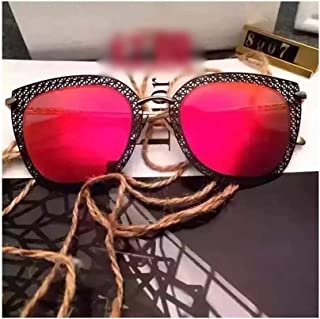Ladies Fashion Hollow Sunglasses, Street Style Pull Sunglasses. (Color : Red)
