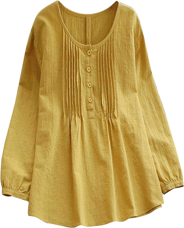 Zxvrara Surprise price Women's Plus Size Tops Linen Cotton Henley Time sale Shirt Casual
