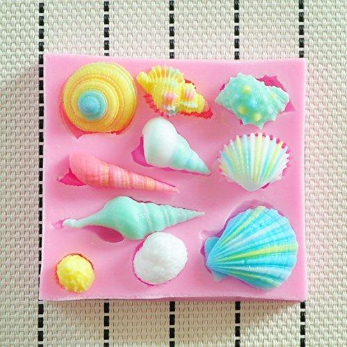 Allforhome Moule en silicone de qualité alimentaire pour décorations de gâteaux en fondant/pâte à sucre/gumpaste/chocolat Motif coquillages