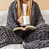 Samiah Luxe Chunky Knit Blanket 50x70; Boho Throw Blanket for Fall Decor; Tight Braided Thick Cable Knit Throw for Sofa or Bed; Graphite Gray Chenille Weighted Blanket 8lbs for Farmhouse Decor