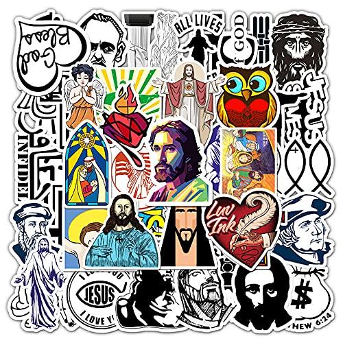 RWDMFC Aufkleber 100 Stück Christian Jesus Cartoon Charakter Aufkleber, PVC wasserdichte Kunst Aufkleber für Skate, Moto, Gepäck, Wasserflaschen, Gitarre, Laptop-A