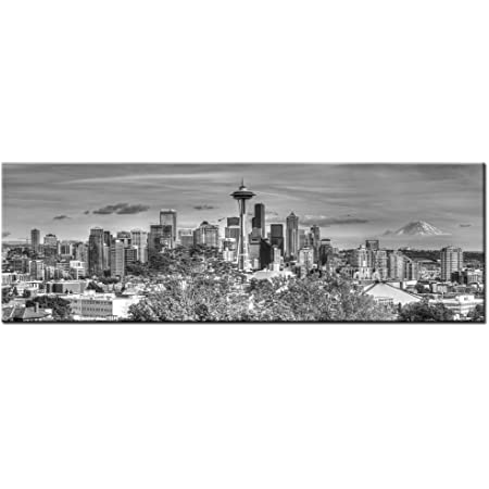 Levvarts Large Size Seattle Skyline Canvas Wall Art The Space Needle And Mount Rainier Black And White Picture Print On Canvas Gallery Wrapped Modern Home And Office Decor Posters