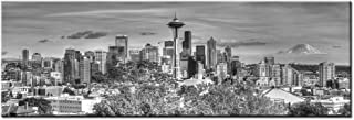 LevvArts - Large Size Seattle Skyline Canvas Wall Art The Space Needle and Mount Rainier Black and White Picture Print on Canvas,Gallery Wrapped,Modern Home and Office Decor