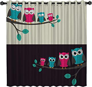 Blackout Window Curtains Colored Owl Window Treatment Darkening Thermal Insulated Curtains for Living Room Bedroom Window Drapes 52