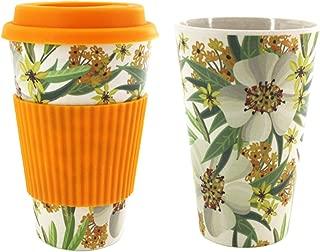 SAVORLIVING Coffee Mug Reusbale Bamboo Fiber Water Tea to Go Cup with Silicone Lid & Sleeve, Eco-Friendly Takeaway Travel Mug 400ml/14oz (Orange)