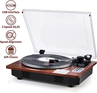 Record Player Turntable Professional Full-Sized Wireless Receiver and Transmitter Automatic Vinyl Records Belt-Drive Stereo Record Player Vinyl-to-MP3 Encoding USB Player