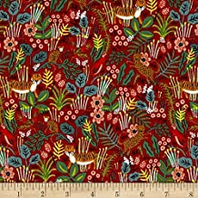 Cotton + Steel Rifle Paper Co. Menagerie Jungle Red Fabric by The Yard