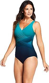 Lands` End Women`s Slender Tummy Control Chlorine Resistant V-Neck Wrap One Piece Swimsuit