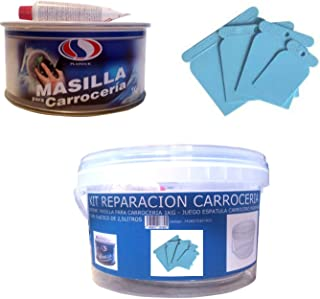 KIT REPARACION CARROCERIA (MASILLA PARA CARROCERÍA 1 KG + JUEGO ESPATULA CARROCERO PLASTICO + CUBO PLASTICO 2,5 LITROS) PLAIN+PLAST