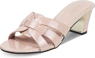tresmode Women Fashion Casual Block Heel Sandal Open Toe Mule Open-Back