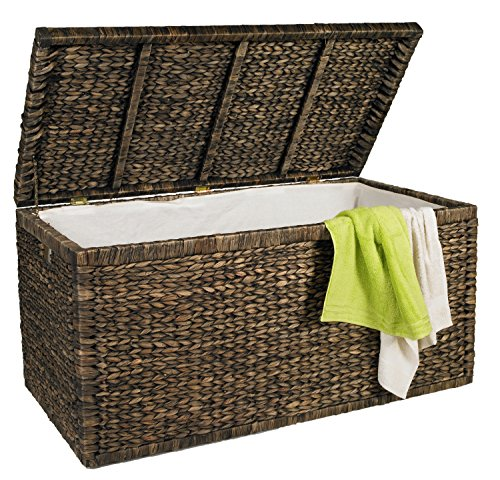 Artra Design Truhe mit Klappdeckel braun, 110 cm, atmungsaktive, nachhaltige Aufbewahrungsbox mit Deckel Aufbewahrungskiste Aufbewahrungstruhe Wäschetruhe Auflagenbox