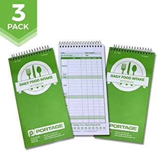 """Daily Food Intake Journal Notebook – 4"""" x 8"""" Meal Tracker/Food Diary to Log Calories, Carbs, Fat Perfect for KETO – 140 Pages (3 Pack)"""