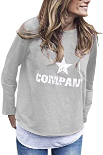 Sceoyche The Fashion Women's Winter Star Print O-Neck Long Sleeve Top Blouse