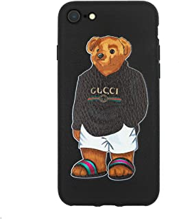 Stylish Bear Custom Fashion Protective Flexible Case/Cover/Skin Leather Finish for iPhone (Black Bear, iPhone 7+/8+)