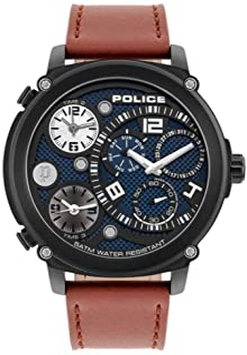 Police Watches Titan Mens Analog Quartz Watch with Leather Bracelet PL.15659JSB-03