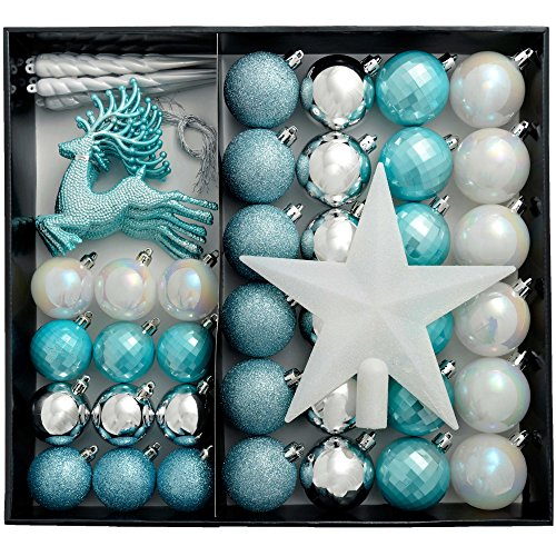WeRChristmas Shatterproof Luxury Christmas Tree Baubles, 50-Piece - Silver/Blue/White
