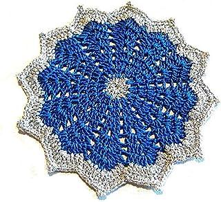 Posavasos azul y plateado de ganchillo para Navidad - Tamaño: ø 15 cm - Handmade - ITALY