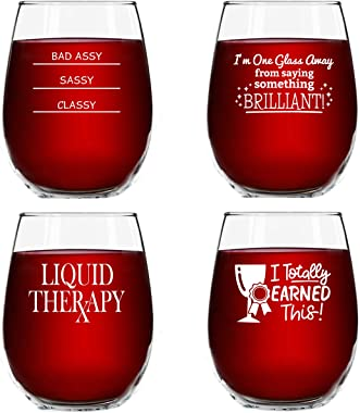 Funny Stemless Wine Glasses Set of 4 (15 oz)- Funny Novelty Wine Glassware Women- Party, Event, Hosting Fun- Wine Lover Wine