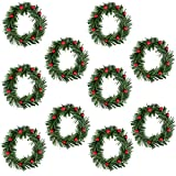 Lystaii 10pcs Christmas Candle Rings Red Artificial Berry Candle Rings with Grass Mini Christmas Wreath for Pillar Candle Christmas Holiday Table Decorations Rustic Wedding Table Centerpiece