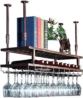 JFFFFWI Casier à vin en métal fixé au Mur, Porte-Bouteille de vin Lunettes étagère à Chandeliers en Verres à Pied, Support...