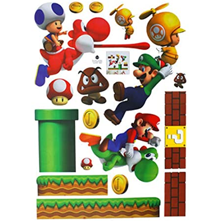EOZY Decor Autocollants Muraux Amovibles Super Mario Bros pour Crèche et Chambre d'enfants 70 * 50 CM